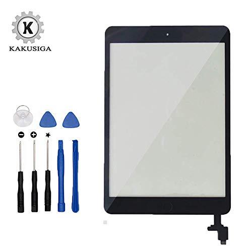 Kakusiga para iPad Mini 1/2 (Negro) Pantalla táctil digitalizador Panel Frontal de Cristal de reparación Incluye IC Chip Cable Flex Soporte cámara+ Adhesivos pre instalados + Kit Herramientas