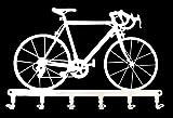 Tablero de llaves - bicicleta de carreras - ganchos para llaves - acero, blanco, 30 cm x 19 cm