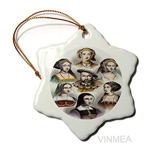 Hexagonal Ceramic Ornaments King Henry VIII of England Xmas Holiday Party Tree Hanging Decoration ,1pcs