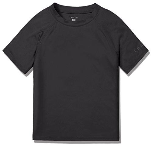 TSLA UPF 50+ Youth Kids Rash Guard Short Sleeve, UV/SPF Surf Swim Shirt, Aqua Water Swimsuit Top, Swim Shirt - Black, X-Large