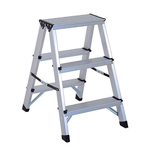 HOMCOM Escalera de Tijera Aluminio Plegable Escalera Doméstica de Mano Ambos Lados 3 Peldaños Carga 150kg