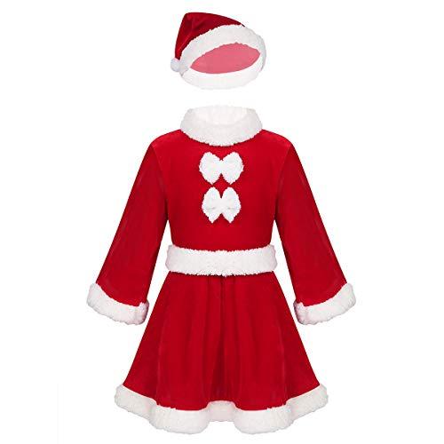 Agoky Traje Navideño Papá Noel para Bebé Niñas Niños Disfraz de Mamá Noel Conjunto de Santa Navidad Infantil Disfraz Fiesta Christmas Nochebuena Rojo Niña 6-12 Meses