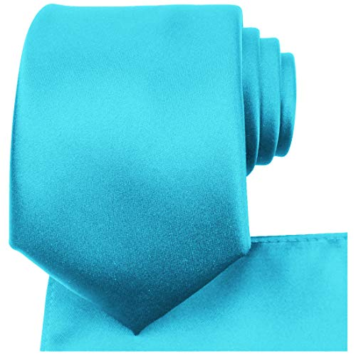 KissTies Turquoise Blue Tie Set Solid Satin Necktie + Pocket Square + Gift Box