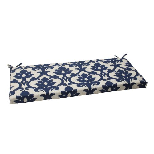 Pillow Perfect Outdoor/Indoor Basalto Navy Bench/Swing Cushion, 45' x 18', Blue