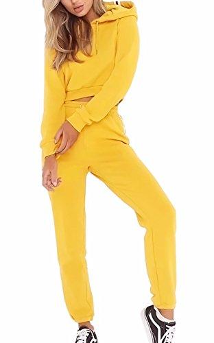 EMMA Otoño de Las Mujeres con Capucha Corto Casual Chándal Clubwear Raya Manga Larga Ropa Deportiva Pullover Sudadera Harem Pantalones Ivy Leggings(YE,L)