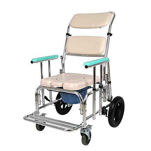 TWL LTD-Wheelchairs Rollstuhl-Kommode, Aufzug-Armlehnen-Toilettenstuhl, Handlauf Einstellbar mit Bremsen Rollstühle Geeignet für Ältere Menschen, Schwangere, Behinderte