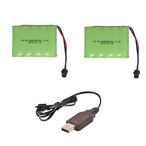 Batería de respaldo de alto rendimiento 6v 2800mah M-Style NI-MH Batería con USB de alta capacidad AA NI-MH Batería para juguetes eléctricos / coche RC / camión / barco 6V-3PCS ( Color : 2pcs )
