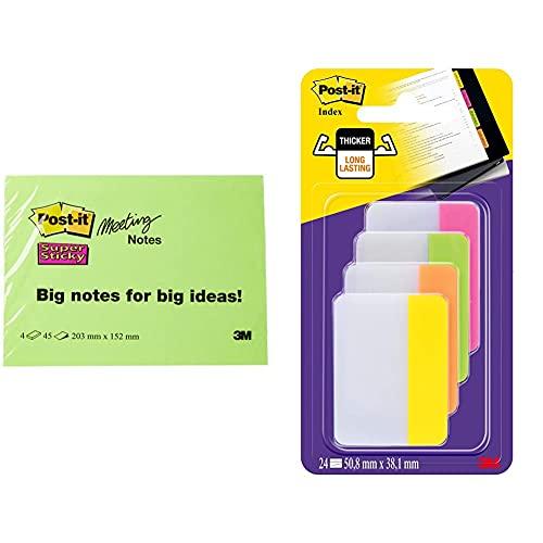 Post-it 6845-SSP Notas adhesivas, 45 hojas, 203 x 152 mm + Post-it 686- PLOY Index Strong Banderitas separadoras (4 colores x 6 unidades, 50,8 x 38 mm), color rosa, verde, naranja y amarillo