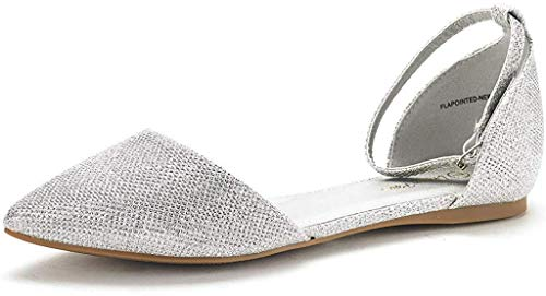 DREAM PAIRS Women's Flapointed-New Silver Glitter D'Orsay Ballet Flats Shoes - 8.5 M US
