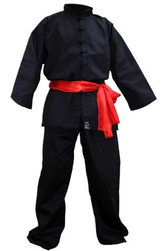 DOUBLE Y - Kimono de kung fu con 7 botones negro negro Talla:120