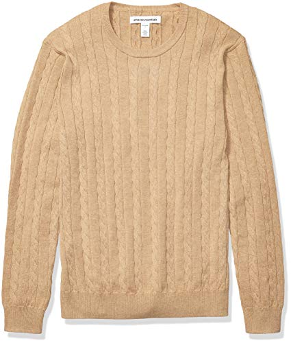 Amazon Essentials Men's Crewneck Cable Cotton Sweater, Camel Heather, Medium