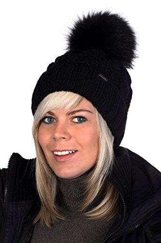 Beanie PB Mütze, Pudelmütze, Wintermütze mit großer Fellbommel aus Fellimitat, Strickmütze hochwertigen Strick (Schwarz)