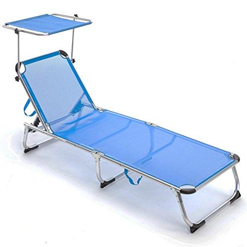 BAKAJI Lettino Prendisole con Tettuccio Parasole Brandina in Alluminio Pieghevole Sdraio Mare Spiaggia Giardino Salvaspazio (Blu)
