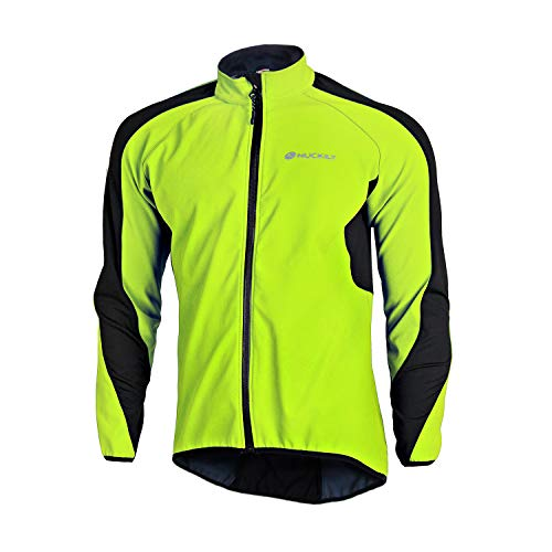 NUCKILY Winddichte Herren-Winterjacke, Thermo-Fleece, Fahrradtrikot, wasserabweisend, für Mountainbike, Rennrad (NJ604-W Grün, XL)
