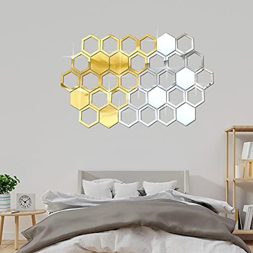 fflmy New Honeycomb Hexagon Pegatinas de Pared Acrílico Honeycomb Espejo Autoadhesivo Restaurante Aisle Decorativo Espejo 3D Fondo de Pared 50 Pieza-Golden Solid  158 * 137 * 80