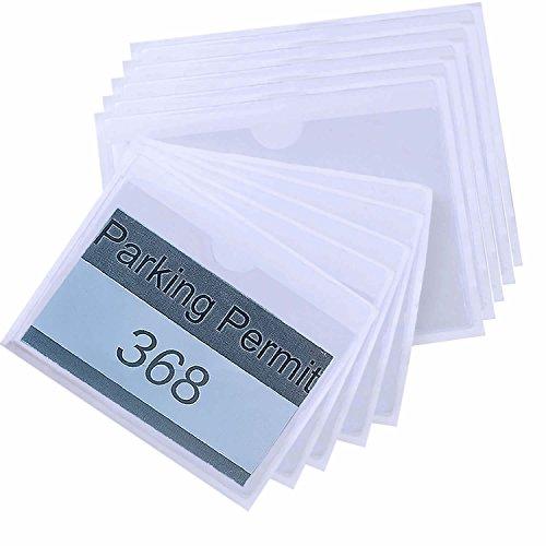 euhuton 10 Stücke Selbstklebende Parkschein Halter Fahrzeug Ticket Halter Clip Transparent für Windschutzscheiben, 2 Größen