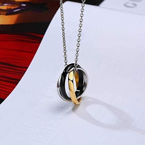 NC110 Collar Mujer Collar Mujer S Chic Triple Anillos entrelazados Colgantes Collares Pendientes para Hombres Aniversario de Bodas Amor Recuerdos Regalos Joyería Collar Regalo
