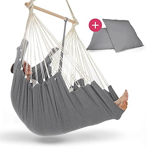 NearDistance Hängesessel - perfekt zum Abschalten, Entspannen & Wohlfühlen - mit Fußablage & Kissen - Indoor Schaukel für Kinder & Erwachsene (Light-Grey)
