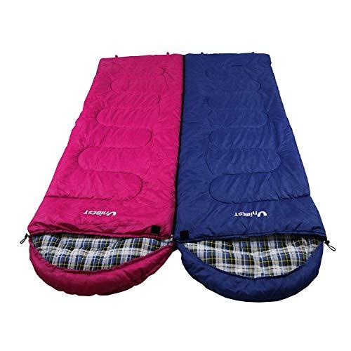 Unibest Deckenschlafsack mit Kopfteil NS70 Baumwolle 2er Pack koppelbar (dunkelblau Links+pink rechts)