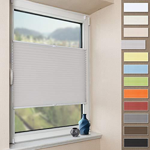 Plissee Klemmfix Faltrollo ohne Bohren Jalousie (Grau, B85cm x H120cm) Plisseerollo Blickdicht Sichtschutz und Sonnenschutz für Fenster & Tür