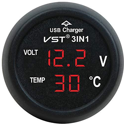 AFGD Digitales Thermometerkfz-Usb-Ladegerät Mit Voltmeter Und Digitaler Thermometeranzeige
