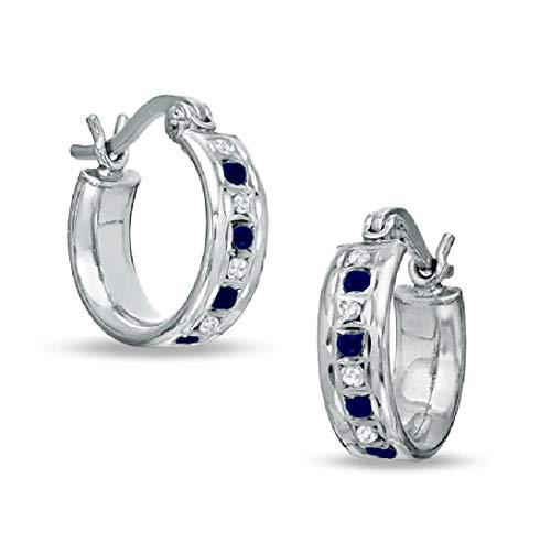 Ani's Aros pequeños para mujeres y niñas en plata de ley 925 con zafiro azul de corte redondo D/VVS1