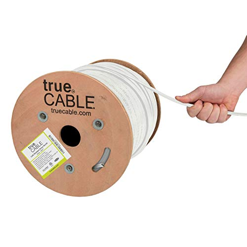 trueCABLE Cat6 Direct Burial, Shielded FTP, 500ft, Waterproof, Outdoor Rated CMX, White, 23AWG Solid Bare Copper, 550MHz, ETL Listed, Bulk Ethernet Cable