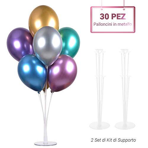 ARZOPA 30 Pezzi Palloncini Metallo e 2 Set Supporto per Palloncino Trasparente per Matrimoni, Compleanni, Vacanze, Anniversari, Decorazioni per Feste