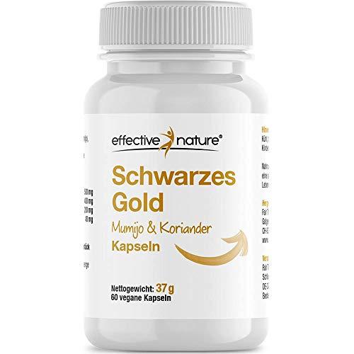 effective nature Schwarzes Gold - Mumijo und Koriander-Extrakt Kapseln - Pflanzliche Alternative zu Bentonit, Reich an Huminsäure, Vegane Kapseln, 60 Stk.