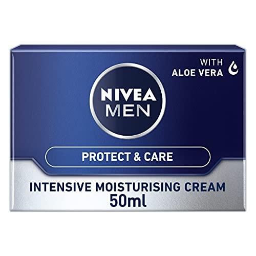 NIVEA MEN Intensive Moisturising Face Cream Protect & Care Pack of 3 (3 x 50 ml), Face Moisturiser for Dry Skin, Moisturiser for Men with Aloe Vera & Vitamin E, Mens Moisturiser