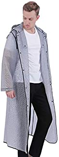 XUECHEN Raincoats Long Plastic Adults Men Raincoat Fashion Thick Geometric Poncho Waterproof Hooded Male/boys Semi-transpa...