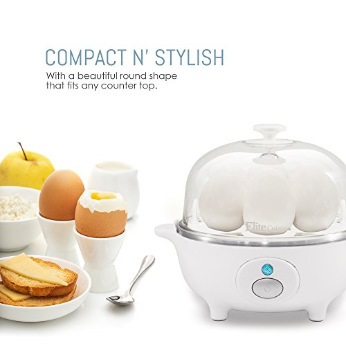 Maxi-Matic EGC-007 Easy Electric Poacher, Omelet, Scrambled, Soft, Medium, Hard-Boiled Boiler Cooker with Auto Shut-Off and Buzzer, Measuring Cup Included, BPA Free, 7 Capacity, White
