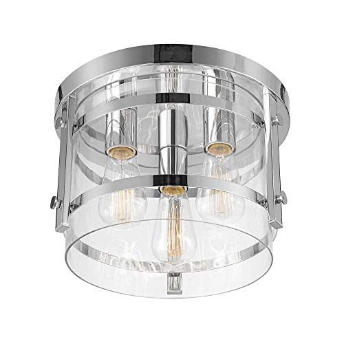 Globe Electric 60324 Wexford 3-Light Flush Mount Ceiling Light, Chrome, Clear Glass