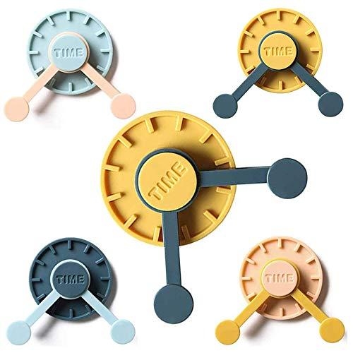Punch Free 360 Rotating Clock Wall Hooks,Creative Clock Shape Storage Hooks for Hanging on Wall Desktop, Kitchen, Bathroom, Behind The Door, and Refrigerator Door (8pcs)