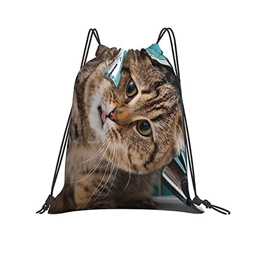 Gato de agua potable grifo con cordón mochila bolsa deporte gimnasio senderismo yoga natación viaje playa Sackpack para mujeres hombres