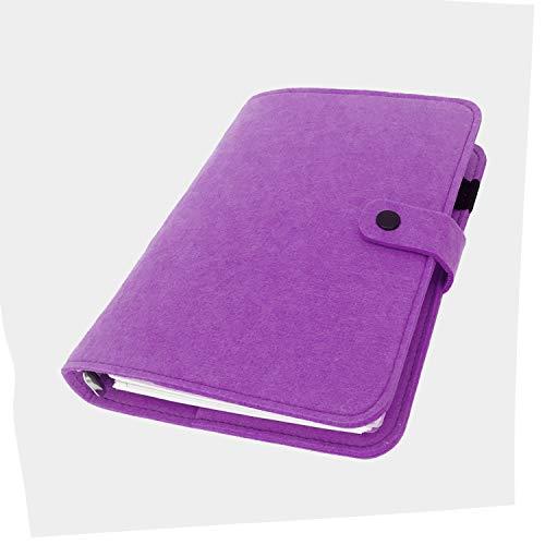 手帳 バインダー紐 システム カバー6穴 フェルト マテリアルシステムハンドブックビジネス学生6リングA5 A6ペンカード入れ, Purple 30, A5 mini set