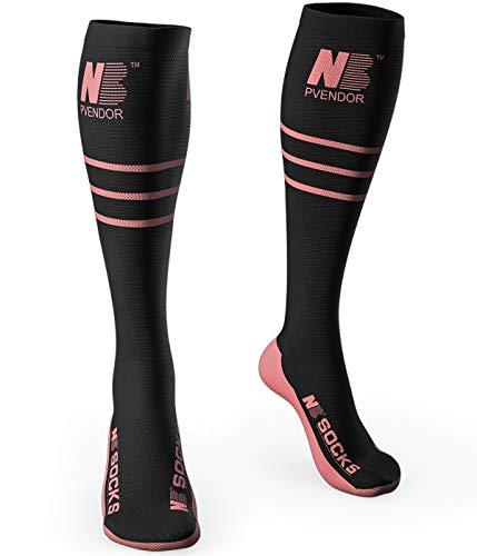Compression Socks for Women & Men(20-30mmhg)Pvendor Athletic Nursing Stocking for Running, Flight, Travel, Nurses, Edema