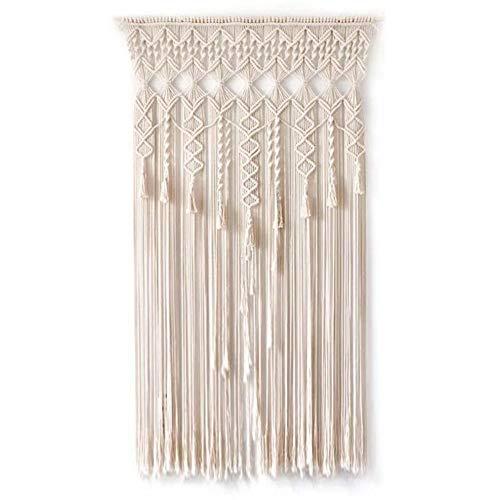 Nicemeet - Cortina de macramé para colgar en la pared, para puerta de la puerta, cortina para colgar en la pared, hecha a mano, para recámara, sala de estar, boda, etc.