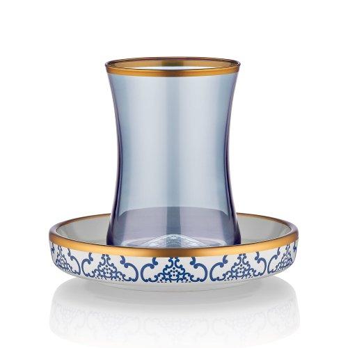 Koleksiyon Teeglas und Unterteller aus Bone China Porzellan mit Blau-und Goldverzierung orientalisches Muster, 165 ml, 6er Set