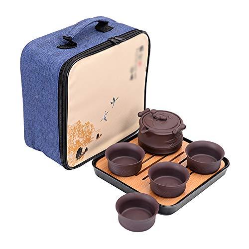 Huachaoxiang Chinesisches Tee-Set, Handgemachte Chinesische Teekanne Aus Violettem Ton Papier Violett Tee Set Gusseiserne Stövchen Dosierlöffel Sieb Teebecher,1