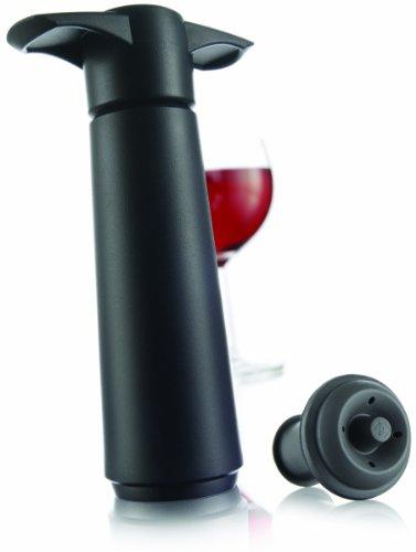 Vacu Vin schwarz 1 Stopfen Weinpumpe, Kunststoff, 3,6X 7,5X 12,5 cm