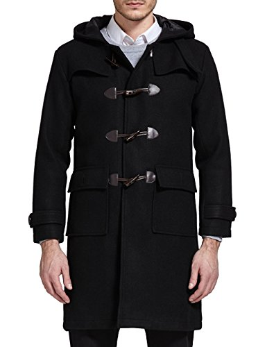 SSLR Men's Winter Thermal Wool Blend Hooded Toggle Coat (Medium, Black)