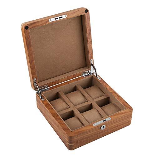 KX-YF Caja de Reloj Unisex Madera sólida Caja de Reloj Reloj mecánico de visualización Caja de Almacenamiento con la Cerradura Organizador Titular (Color : B, Size : 20.5cmx20.5cmx9cm)