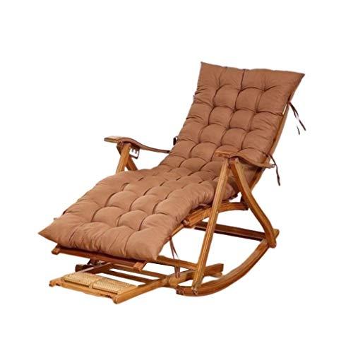 WFFF Mecedora de bambú, Mecedora de bambú portátil Multifuncional, Silla reclinable de Madera Ajustable para Exteriores/jardín/balcón