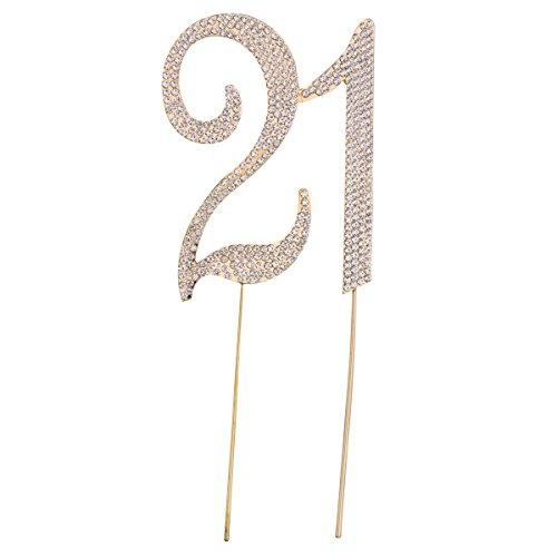 STOBOK Kuchen Topper Strass 21 Zahl Kuchendeckel Kuchendekoration für 21. Jahrestag Geburtstag Party Zubehör (Golden)