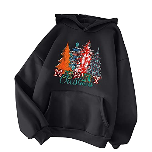 LODDD Women's Casual Long Sleeve Loose Hoodies Christmas Tree Printed Hooded Sweatershirt Pullover Tops Black