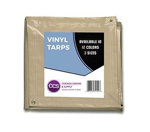 CCS CHICAGO CANVAS & SUPPLY Heavy Duty Vinyl Tarp, Tan, 8 by 10 Feet