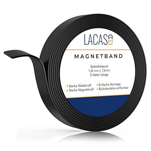 Lacaso Magnetband stark selbstklebend I Magnetklebeband I Universal Magnetstreifen Individuell Zuschneidbar I Ideal für Schule, Arbeit und Werkstatt I Verbesserte Version 2021