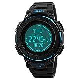 WATCH GYQ@ Brújula multifunción Campamento de Verano Estudiante Reloj electrónico Hora Mundial Personalidad Reloj,Blue
