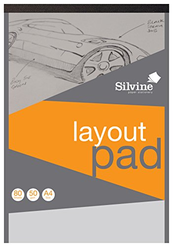 Silvine A4 Professional Layout Pad. 80 Sheets of Semi Transparent 50gsm Paper. Ref A4LP
